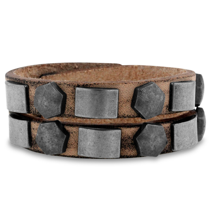 Mens Studded Split Strand Leather Bracelet, 8 Inch by SuperJeweler