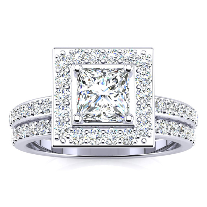 1.5 Carat Princess Cut Floating Pave Halo Diamond Bridal Engagement Ring Set in 14k White Gold (H-I, SI2-I1) by SuperJeweler