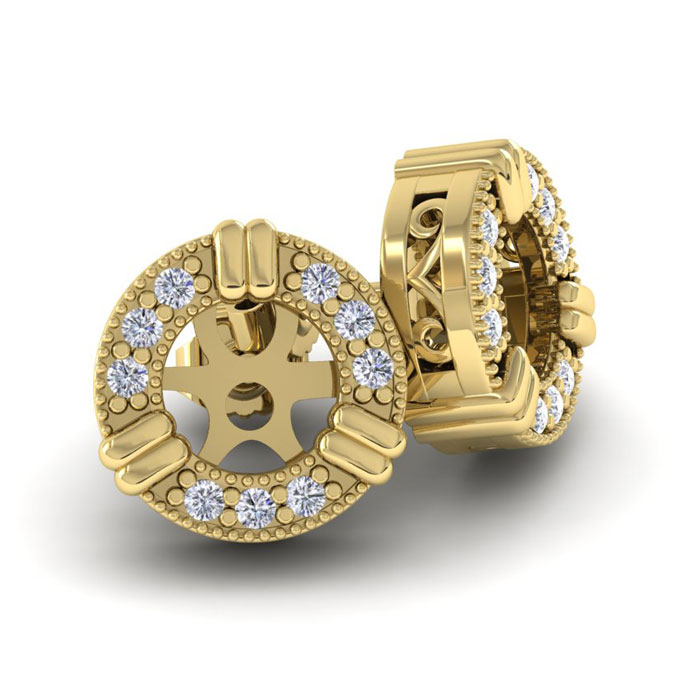 14K Yellow Gold Diamond Earring Jackets, Fits 3/4-1ct Stud Earrings