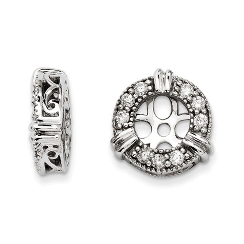 14K White Gold Diamond Earring Jackets, Fits 3/4-1ct Stud Earrings