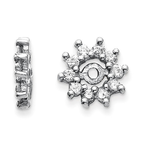 14K White Gold Halo Sun Diamond Earring Jackets, Fits 1/4-1/3ct Stud Earrings