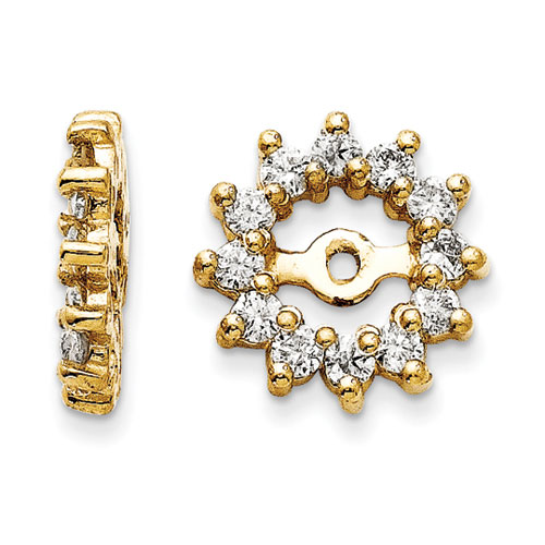 14K Yellow Gold Halo Sun Diamond Earring