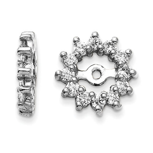 14K White Gold Halo Sun Diamond Earring Jackets, Fits 3/4-1ct Stud Earrings