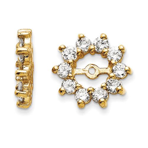 14k Yellow Gold Large Halo Sun Diamond Earring Jackets Fits 3 4 1ct Stud Earrings Item Number Jwl 12069