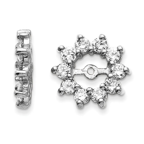 14K White Gold Large Halo Sun Diamond Earring Jackets, Fits 3/4-1