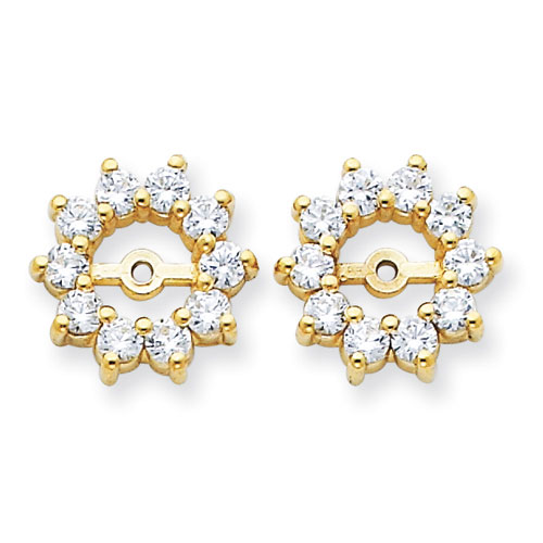 14K Yellow Gold Large Halo Sun Diamond Earring Jackets, Fits 1 1/