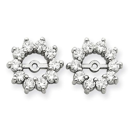 14K White Gold Large Halo Sun Diamond Earring Jackets, Fits 1 1/3-1 1/2ct Stud Earrings