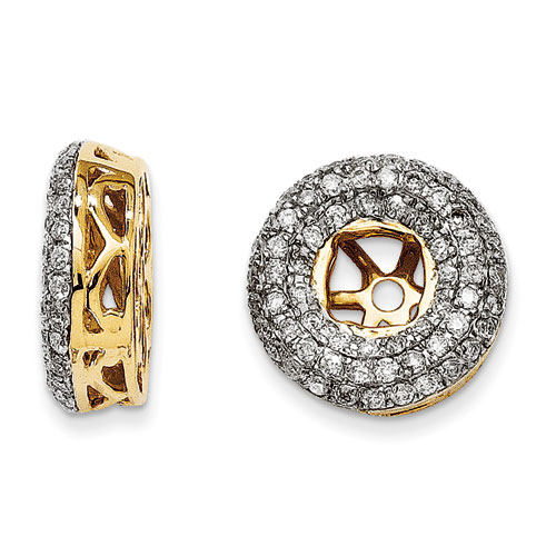 14K Yellow Gold Triple Halo Diamond Earring Jackets, Fits 1/3-1/2