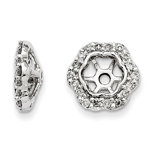 14K White Gold Floral Inspired Diamond Earring Jackets, Fits 1/3-