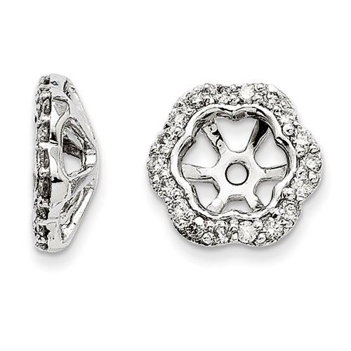 14K White Gold Floral Inspired Diamond Earring Jackets, Fits 3/4-