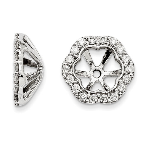 14K White Gold Floral Inspired Diamond Earring Jackets, Fits 1 3/
