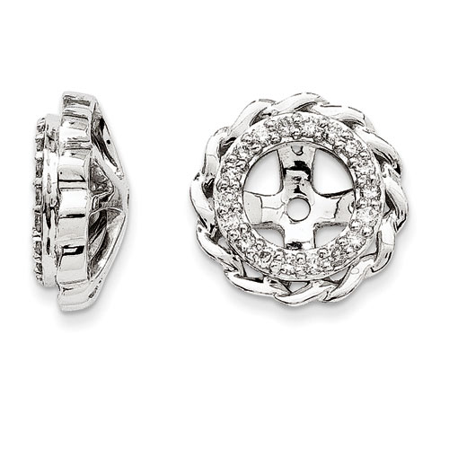 14K White Gold Modern Halo Diamond Earring Jackets, Fits 1 3/4-2