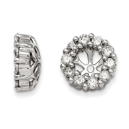 14K White Gold Classic Diamond Earring Jackets, Fits 1/3-1/2ct Stud Earrings
