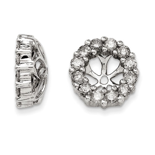 14K White Gold Classic Diamond Earring Jackets, Fits 3/4-1ct Stud Earrings