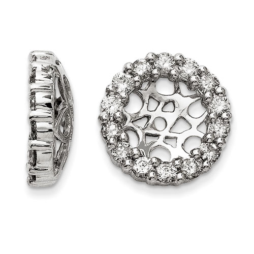 14K White Gold Classic Diamond Earring Jackets, Fits 2 3/4-3 Cara