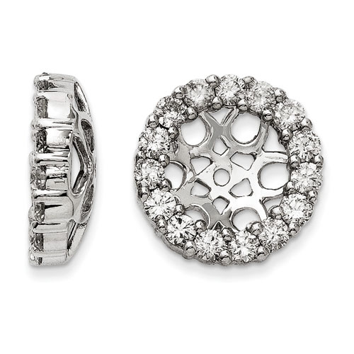 14K White Gold Classic Diamond Earring Jackets, Fits 3 3/4-4ct Stud Earrings