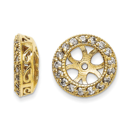14K Yellow Gold Ornate Diamond Earring Jackets, Fits 1 3/4-2ct Stud Earrings