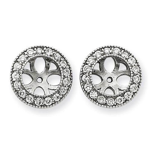 14K White Gold Ornate Diamond Earring Jackets, Fits 1 3/4-2ct Stud Earrings