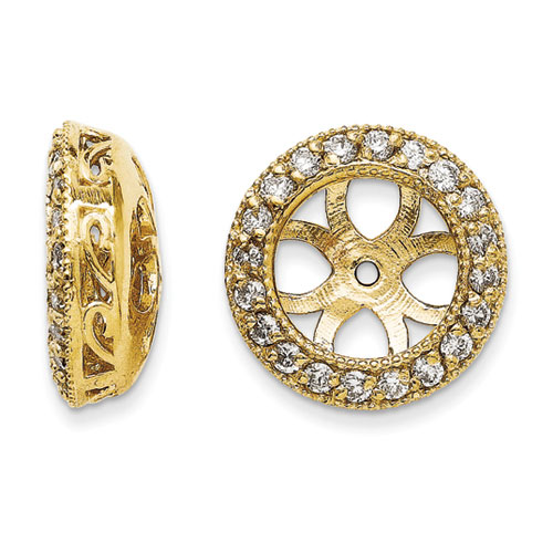14K Yellow Gold Ornate Diamond Earring Jackets, Fits 3 3/4-4ct Stud Earrings