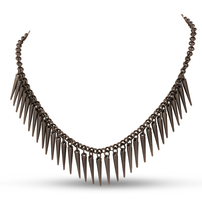 Dangling Gunmetal Spike Bib Necklace, 18 Inches by SuperJeweler