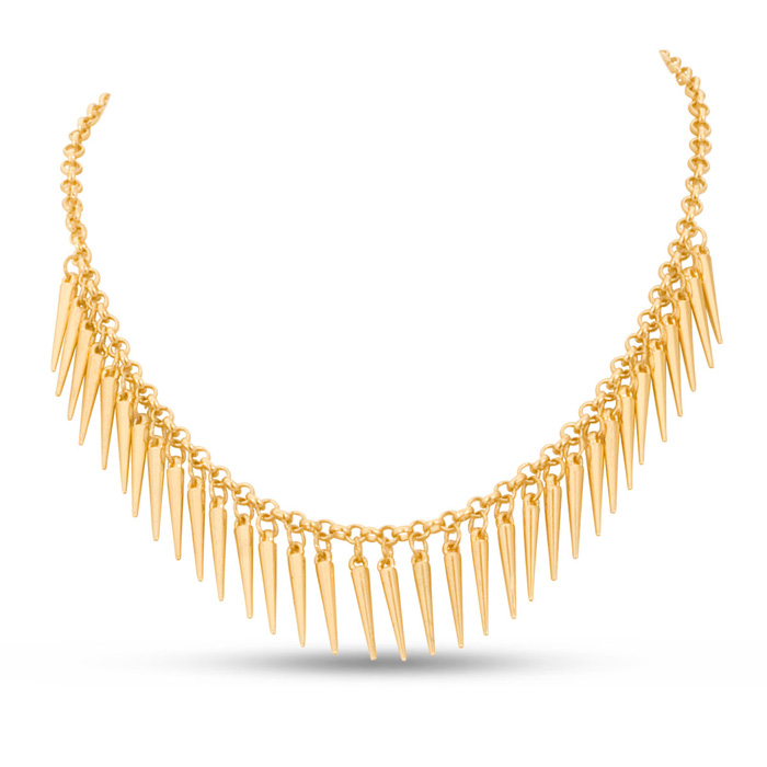 Dangling Gold Spike Bib Necklace, 18 Inches by SuperJeweler