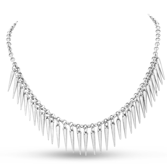 Dangling Silver Spike Bib Necklace, 18 Inches by SuperJeweler