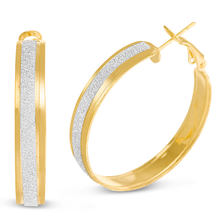 Shimmering Gold Hoop Earrings, 1 Inch by SuperJeweler