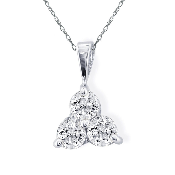 Image of 1/2ct Three Diamond Triangle Style Diamond Pendant In 14k White Gold