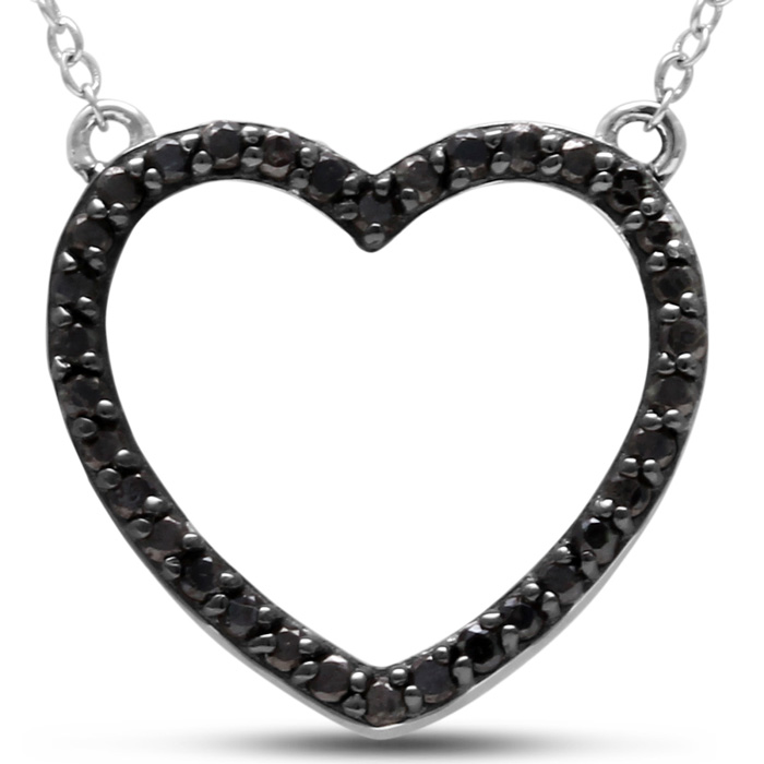 1/2 Carat Black Diamond Heart Necklace Crafted in Solid Sterling