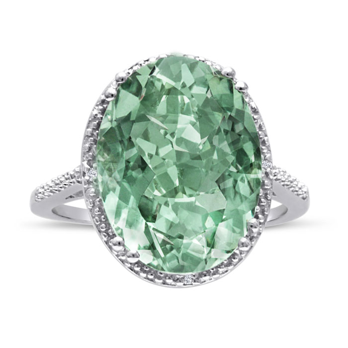 8 Carat Oval Shape Green Amethyst & Diamond Ring Crafted in Solid Sterling Silver, I/J by SuperJeweler