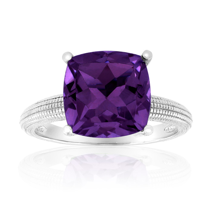 5 Carat Cushion Cut Amethyst Ring Crafted in Solid Sterling Silve