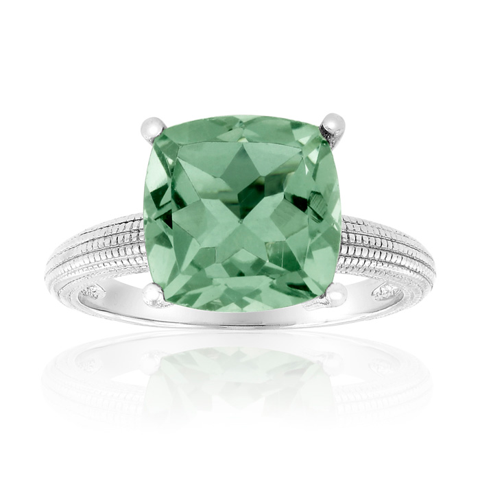 5 Carat Cushion Cut Green Amethyst Ring Crafted in Solid Sterling Silver by SuperJeweler
