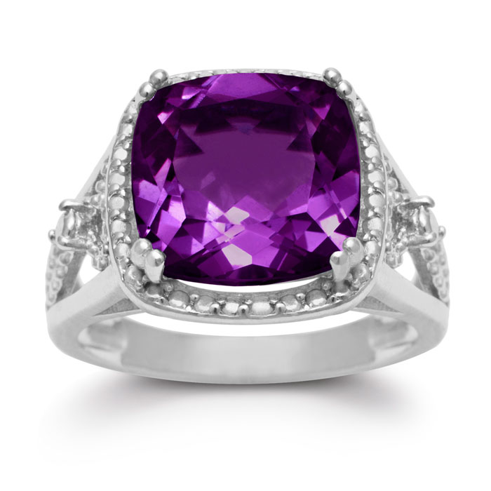 5 Carat Cushion Cut Halo Style Amethyst Ring Crafted in Solid Sterling Silver by SuperJeweler