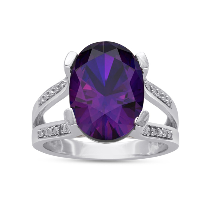 5 1/2 Carat Oval Shape Amethyst & Diamond Ring Crafted in Solid S