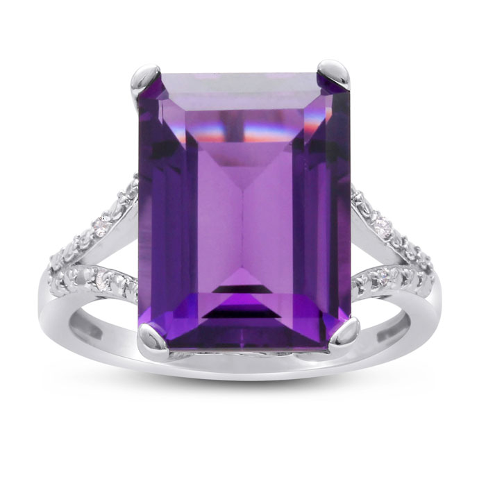 Unreal, Massive 10 Carat Vibrant Amethyst and Diamond Ring! Killer Ring, Killer Price!