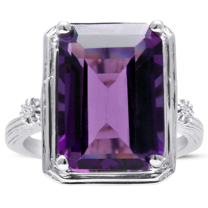 10 Carat Halo Amethyst & Diamond Ring Crafted in Solid Sterling Silver, I/J by SuperJeweler