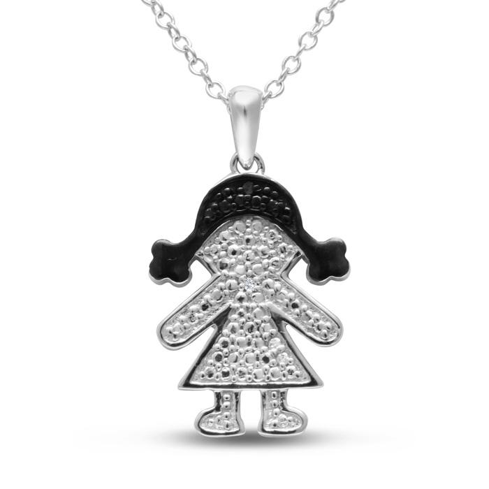 Diamond Mommy Necklace with Black Diamond