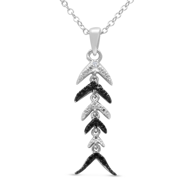 INOpets.com Anything for Pets Parents & Their Pets Black and White Diamond Fish Scale Necklace Crafted In Solid Sterling Silver, 18 Inches