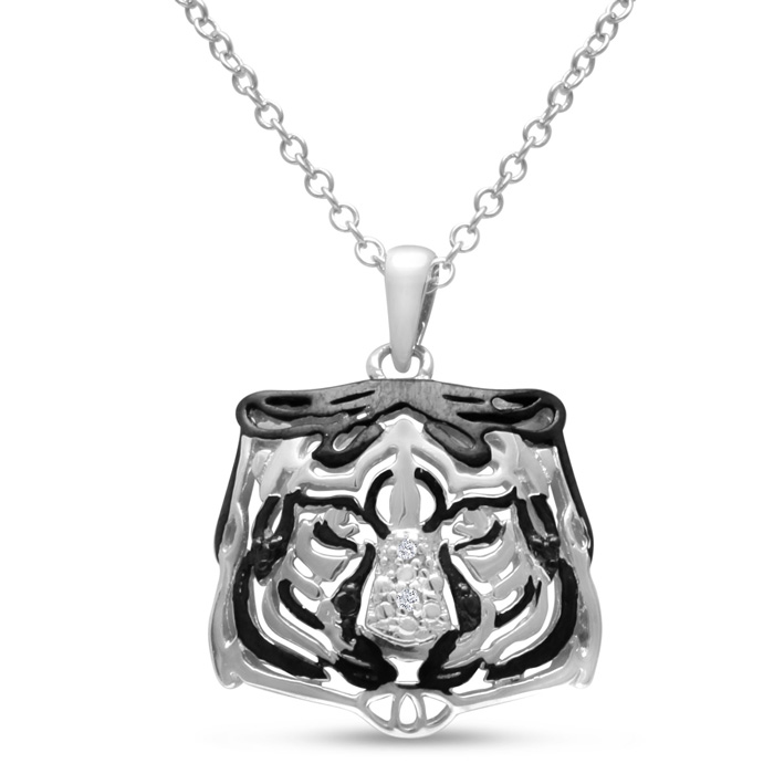 Black & White Diamond Tiger Necklace Crafted in Solid Sterling Silver, 18 Inches, I/J by SuperJeweler