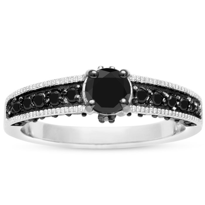 1 Carat Black Diamond Pave Engagement Ring Crafted in Solid Sterl