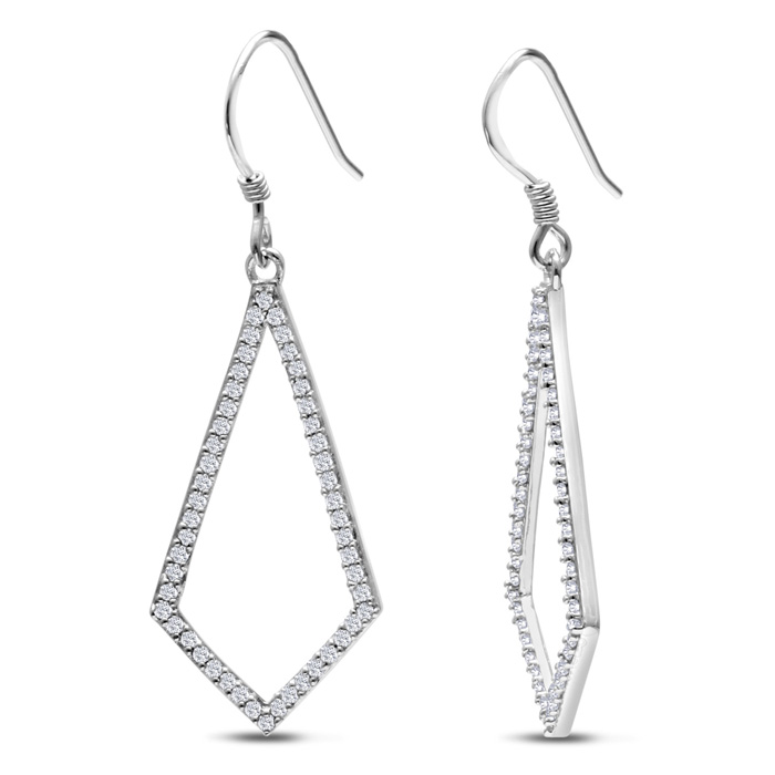 1/2 Carat Diamond Geometric Dangle Earrings Crafted in Solid Ster