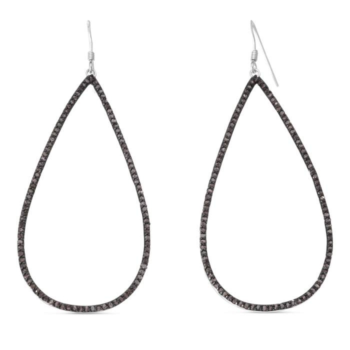 1 Carat Black Diamond Teardrop Dangle Earrings Crafted in Solid S