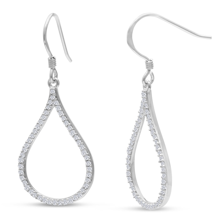 1/2 Carat Diamond Kiss Dangle Earrings Crafted in Solid Sterling
