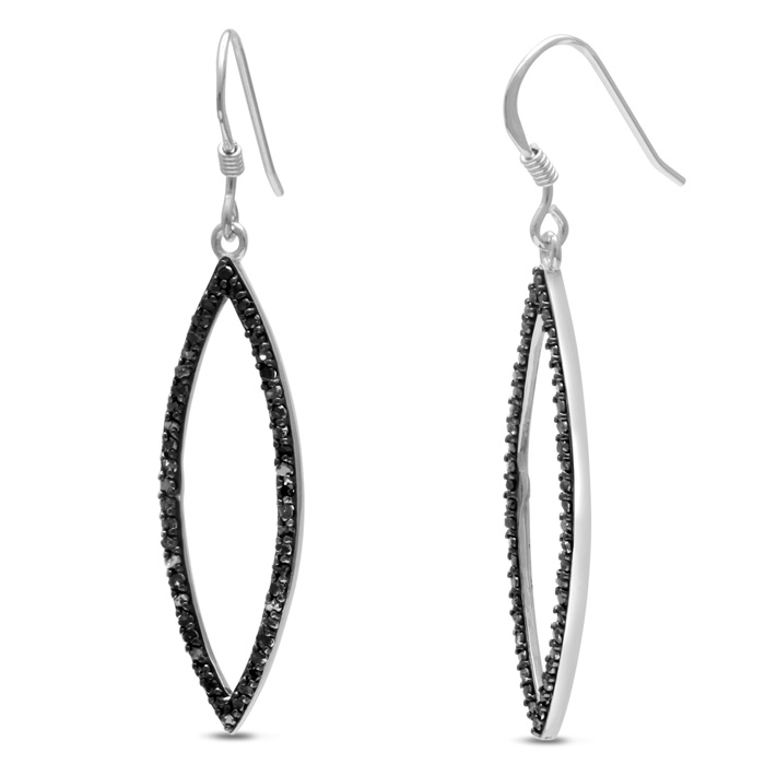 1/2 Carat Black Diamond Leaf Dangle Earrings Crafted in Solid Sterling Silver by SuperJeweler