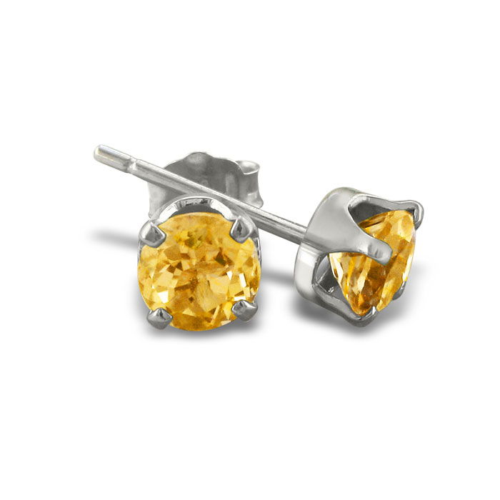 1 1/3 Carat Citrine Stud Earrings in Sterling Silver by SuperJewe