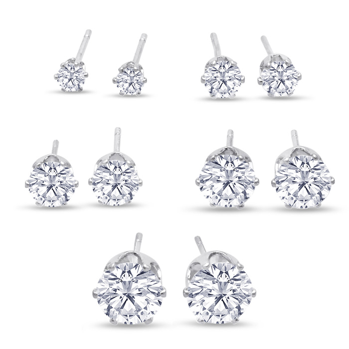 Set Of Five Cubic Zirconia Stud Earrings - 1/3ct, 1/2ct, 1ct, 1 3/4ct, & 2 1/4ct, in White Gold by SuperJeweler