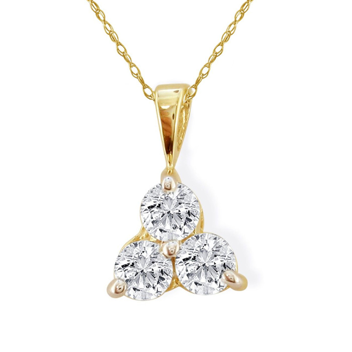 1/2 Carat Three Diamond Triangle Style Diamond Pendant Necklace in 14k Yellow Gold, H/I, 18 Inch Chain by SuperJeweler