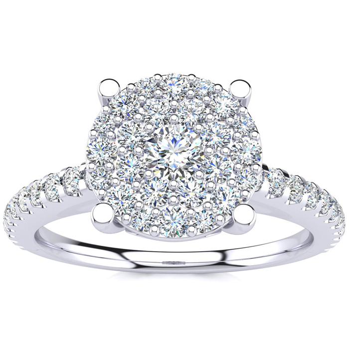 1/2 Carat Pave Diamond Engagement Ring in Solid White Gold (, SI2-I1) by SuperJeweler