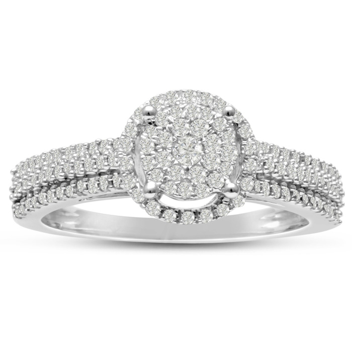 1/2 Carat Pave Halo Diamond Engagement Ring Crafted in Solid White Gold, G/H by SuperJeweler