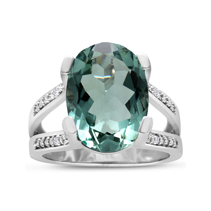 5 1/2 Carat Oval Shape Green Amethyst & Diamond Ring Crafted in Solid Sterling Silver, I/J by SuperJeweler